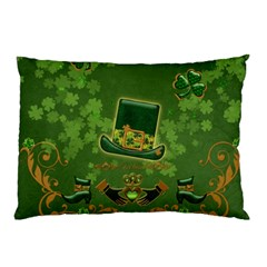 Happy St  Patrick s Day With Clover Pillow Case (two Sides) by FantasyWorld7