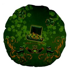 Happy St  Patrick s Day With Clover Large 18  Premium Flano Round Cushions by FantasyWorld7