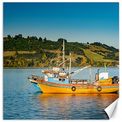 Fishing Boat At Lake, Chiloe, Chile Canvas 12  X 12   by dflcprints