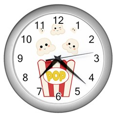 Cute Kawaii Popcorn Wall Clocks (silver)  by Valentinaart