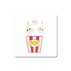Cute Kawaii Popcorn Square Magnet by Valentinaart