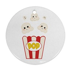 Cute Kawaii Popcorn Round Ornament (two Sides) by Valentinaart