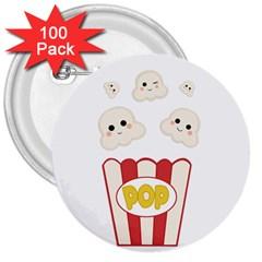 Cute Kawaii Popcorn 3  Buttons (100 Pack)  by Valentinaart