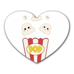 Cute Kawaii Popcorn Heart Mousepads by Valentinaart