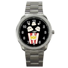 Cute Kawaii Popcorn Sport Metal Watch by Valentinaart