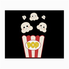 Cute Kawaii Popcorn Small Glasses Cloth (2 Side) by Valentinaart