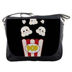 Cute Kawaii Popcorn Messenger Bags by Valentinaart