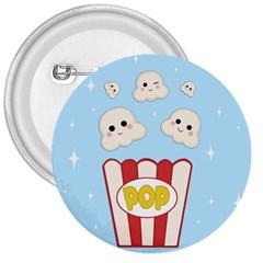 Cute Kawaii Popcorn 3  Buttons by Valentinaart