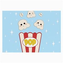 Cute Kawaii Popcorn Large Glasses Cloth by Valentinaart