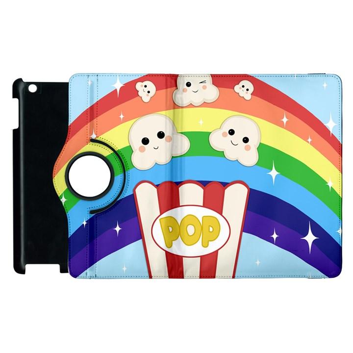 Cute Kawaii Popcorn Apple iPad 3/4 Flip 360 Case