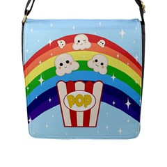 Cute Kawaii Popcorn Flap Messenger Bag (l)  by Valentinaart