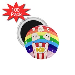 Cute Kawaii Popcorn 1 75  Magnets (100 Pack)  by Valentinaart