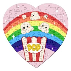 Cute Kawaii Popcorn Jigsaw Puzzle (heart) by Valentinaart