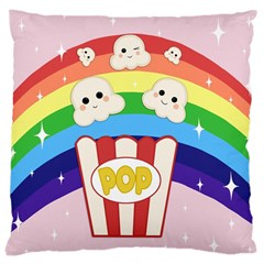 Cute Kawaii Popcorn Large Cushion Case (two Sides) by Valentinaart