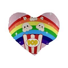 Cute Kawaii Popcorn Standard 16  Premium Flano Heart Shape Cushions by Valentinaart