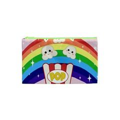 Cute Kawaii Popcorn Cosmetic Bag (xs) by Valentinaart