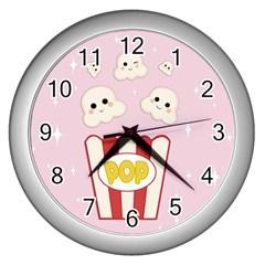 Cute Kawaii Popcorn Wall Clocks (silver)  by Valentinaart