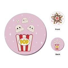 Cute Kawaii Popcorn Playing Cards (round)  by Valentinaart