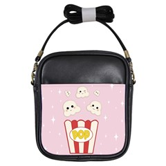 Cute Kawaii Popcorn Girls Sling Bags by Valentinaart