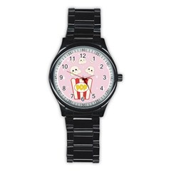Cute Kawaii Popcorn Stainless Steel Round Watch by Valentinaart
