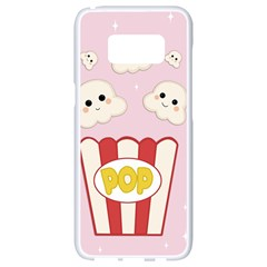 Cute Kawaii Popcorn Samsung Galaxy S8 White Seamless Case by Valentinaart