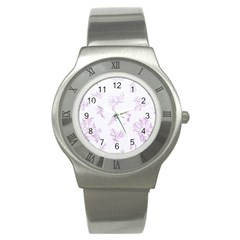 Beautiful,violet,floral,shabby Chic,pattern Stainless Steel Watch by 8fugoso