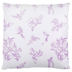 Beautiful,violet,floral,shabby Chic,pattern Large Cushion Case (one Side) by 8fugoso