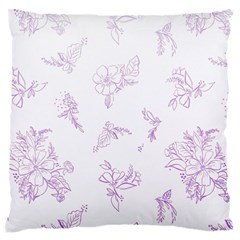 Beautiful,violet,floral,shabby Chic,pattern Large Flano Cushion Case (two Sides) by 8fugoso
