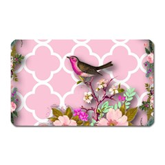 Shabby Chic, Floral,pink,birds,cute,whimsical Magnet (rectangular) by 8fugoso
