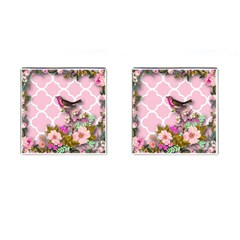 Shabby Chic, Floral,pink,birds,cute,whimsical Cufflinks (square) by 8fugoso