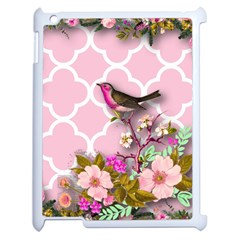 Shabby Chic, Floral,pink,birds,cute,whimsical Apple Ipad 2 Case (white) by 8fugoso