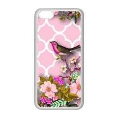 Shabby Chic, Floral,pink,birds,cute,whimsical Apple Iphone 5c Seamless Case (white) by 8fugoso