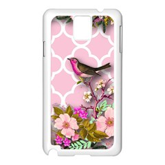 Shabby Chic, Floral,pink,birds,cute,whimsical Samsung Galaxy Note 3 N9005 Case (white) by 8fugoso