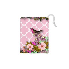Shabby Chic, Floral,pink,birds,cute,whimsical Drawstring Pouches (xs)