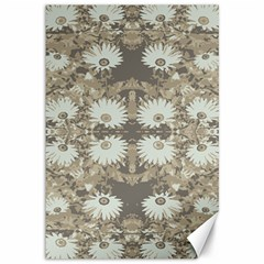 Vintage Daisy Floral Pattern Canvas 12  X 18   by dflcprints