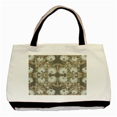 Vintage Daisy Floral Pattern Basic Tote Bag (two Sides) by dflcprints