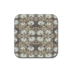 Vintage Daisy Floral Pattern Rubber Coaster (square)  by dflcprints