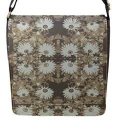 Vintage Daisy Floral Pattern Flap Messenger Bag (s) by dflcprints