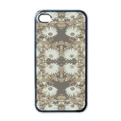 Vintage Daisy Floral Pattern Apple Iphone 4 Case (black) by dflcprints
