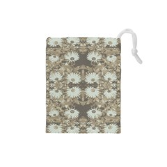 Vintage Daisy Floral Pattern Drawstring Pouches (small)  by dflcprints