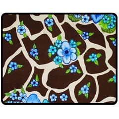 Floral Giraffe Print Fleece Blanket (medium)  by dawnsiegler