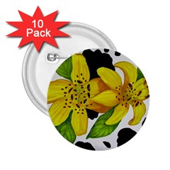 Floral Cow Print 2 25  Buttons (10 Pack)  by dawnsiegler