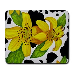 Floral Cow Print Large Mousepads by dawnsiegler
