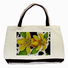 Floral Cow Print Basic Tote Bag by dawnsiegler