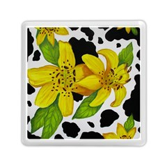 Floral Cow Print Memory Card Reader (square)  by dawnsiegler