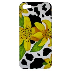 Floral Cow Print Apple Iphone 5 Hardshell Case by dawnsiegler