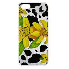 Floral Cow Print Apple Iphone 5 Seamless Case (white) by dawnsiegler