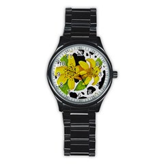 Floral Cow Print Stainless Steel Round Watch by dawnsiegler