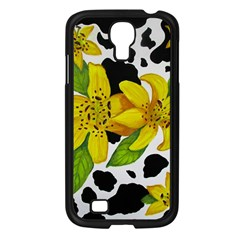 Floral Cow Print Samsung Galaxy S4 I9500/ I9505 Case (black) by dawnsiegler