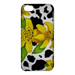 Floral Cow Print Apple Iphone 5c Hardshell Case by dawnsiegler